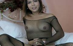 Exotic ladyboy Nicole flaunts her firm transsexual body and strokes her perfect Tgirl cock for the camera in this sexy video, enticing you with her sultry smile and beautiful eyes to join her for a little sexy fun.