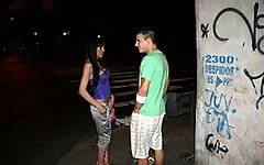 A couple of cuties were hanging out on a street corner when we whistled to them from our hotel balcony.  We knew they were hookers, but we were horny and told our boy Leonel to go get one so we could tape him fucking her.  When he brought back Tamara we were impressed.  Not only was she tall and slim but she had those sexy fuck-me-eyes that let you know you could really get nasty with this bitch.  So, after giving her a wad of cash, Leonel kissed and undressed her only to find out that his rental was a transsexual!  While it gave him pause, it didn\'t stop him from grabbing her head and shoving his erect cock down her tranny throat.  Leo then titty fucked her before filled her tight asshole up with his straight cock.