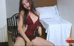 Sexual shemale in red bikini is showing her sexual figure