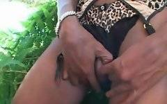 White bastard is doing awesome blowjob outdoors
