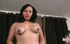 Yummy tranny tenders her tits and rubs her eager dick.