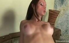 Craving tranny is passionately jumping on friend`s stiff cock.