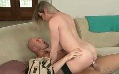 Naughty she-male moves up and down lover`s thick boner.
