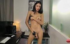 Toon is a hot Bangkok transgirl with a sexy slim body, big boobs, a juicy round ass and a huge hard cock! See this horny tgirl jacking off and cumming!